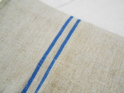 21x43 Vtg Antique BLUE STRIPE EUROPEAN HEMP LINEN French FEED SACK GRAIN BAG