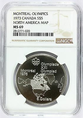 1973 Canada Olympics North America Map Silver $5 Coin - NGC MS 69 - KM# 85