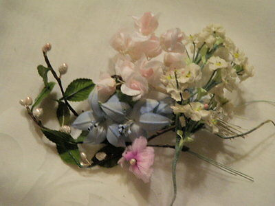 """Vintage Millinery Flower Collection 1/2 -2"""" Pink Blue Doll Size for Hat H1400"""