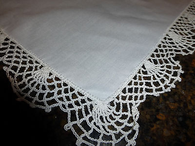 2 Vintage Table Runners Sparkling White With Scalloped Hand Crocheted Edge