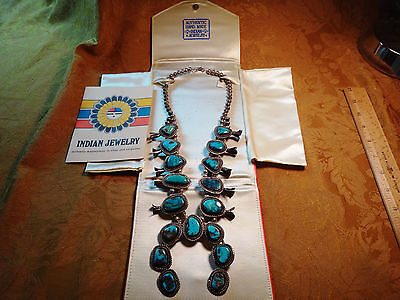 Vintage Sterling Silver & Turquoise Squash Blossom Necklace w/ Case & Paper