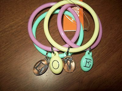 New Gymboree Multi-Color Love Bangle Bracelets One Size NWT