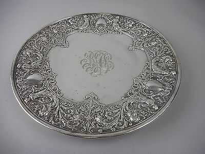 Antique Whiting Manufacturing Co Sterling Repousse Charger or Cake Plate 20 ozT