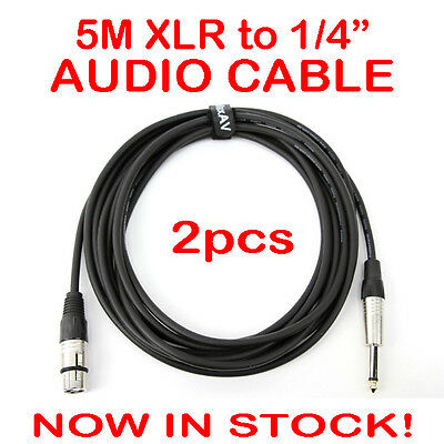 "2x 5-Metre QUALITY XLR Female to Male 1/4"" Microphone Link Cable Lead Cord PA 5M"