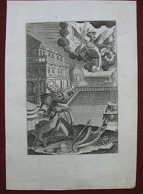 Kupferstich von J. Isaac: Davids Strafe, Engel 1620/Engraving David's Punishment