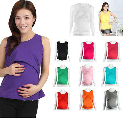 Women Pregnant Maternity T-Shirt Nursing Tops Breastfeeding Cotton Solid Vest