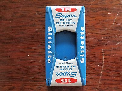 1950s Gillette Brand Super Blue Blades Razor Metal Dispenser Used - No Blades