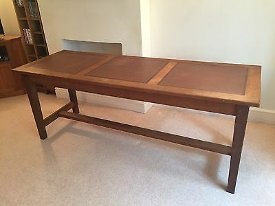 Antique Solid Oak Library Table/desk With Leather Inlay