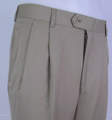 Vtg Khaki Pleated Tapered Turn Up Trousers 80s does 40s / 50s  W32 DW45