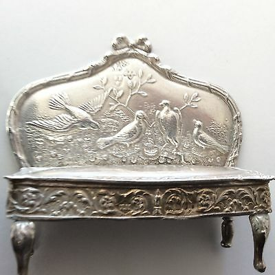 Fully Halmarked Sterling Silver Miniature Sofa Doll House Furniture Birds Ornate