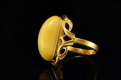 Vintage Natural Butterscotch Amber 14K Gold Ring