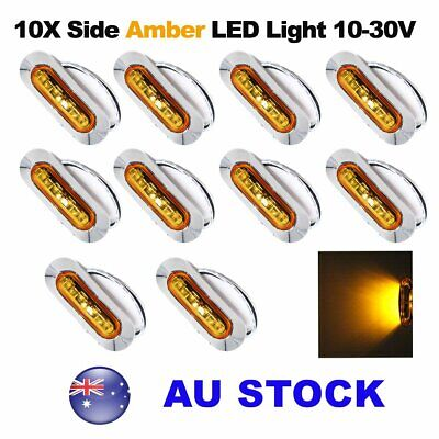 10X 12V 24V Amber 4 SMD LED Side Marker Tail Light Clearance Lamp Truck AU Stock