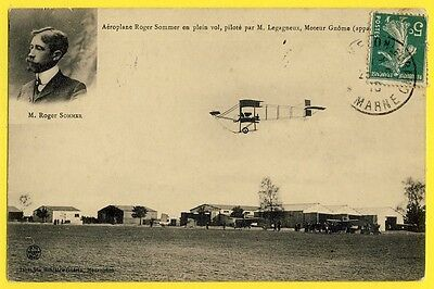 cpa MOURMELON LE GRAND en 1910 CAMP D'AVIATION Hangars AÉROPLANE Roger SOMMER