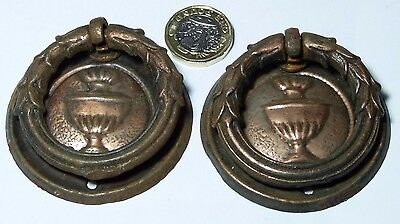 Pair Coppered Antique Chest/drawer/door Pull Handles Regency Style Pre 1910