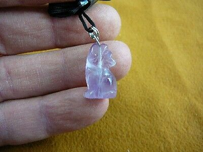 (an-coy-1) Purple amethyst COYOTE howling carving Pendant NECKLACE FIGURINE gem
