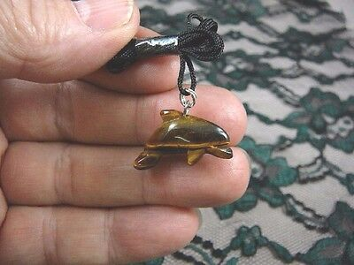 (an-dol-3) DOLPHIN porpoise BROWN Tiger's eye carving Pendant NECKLACE gemstone