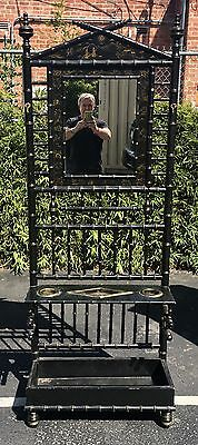 Regency Style black Bamboo Chinoiserie Decorated Hall Tree