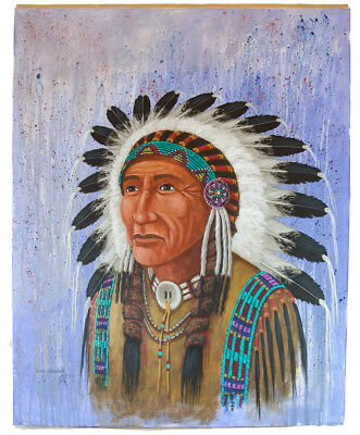 Retail Tag $600 Navajo Indian Chief  Authentic Acrylic Native American Painting