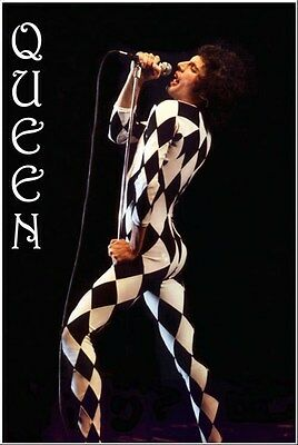 QUEEN ~ FREDDIE MERCURY CHECKERED JUMPSUIT ~ 24x36 MUSIC POSTER ~ NEW/ROLLED!