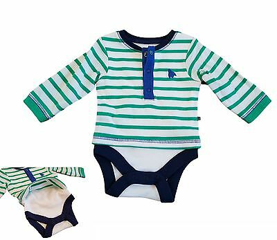 Baby Boys Tshirt Top Attached Vest Green T Shirt Long Sleeve Ex M+S NEW!