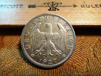 1927-J Germany 1 Reichsmark Mark Silver Coin Tough Date - Free S&H USA