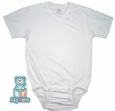 *Big Tots* by MsL WEAR2WORK V-NECK white OneSuit  Adult Baby