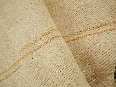 45X18 Vtg Antique GOLD STRIPE European HEMP LINEN Fabric FEED SACK GRAIN BAG