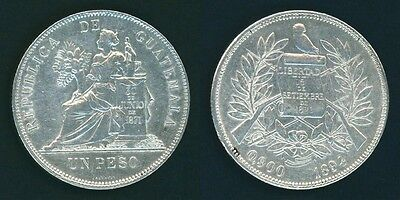 Crown Size Guatemala Silver Coin 1894 One Peso Justice Seated Left Lustrous XF++