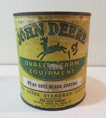 1940s-50s JOHN DEERE 1 Qt Plow Paint Black Can Farm Original Old Sign