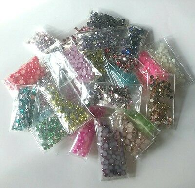 New DIY 2000pcs Mix Facets cut Resin Rhinestone Gems Flat Back Crystal beads