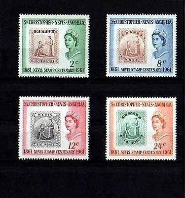St Kitts - 1961 - Qe Ii - Nevis Centenary - Stamp On Stamp - Mnh Set Of 4!