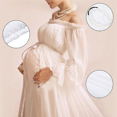 Pregnant Women Wedding Party Maxi Dress Lace Maternity Gown Photography Props