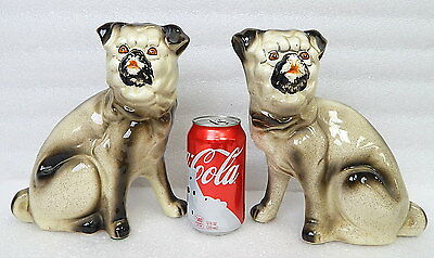 Mid Century Vintage Pair Porcelain Dog Figure Mantle Dogs Pug Bulldog Pekingese