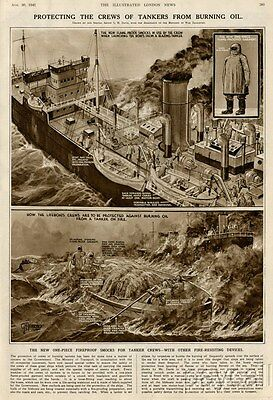 1941 Print WW II War Time Fire resisting Devices in British Tankers