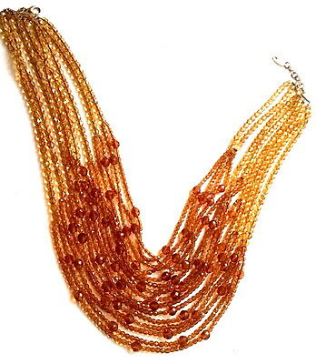 Spectacular BOZART Italy MULTI-STRAND Amber-Tone NECKLACE Couture/Runway Style *