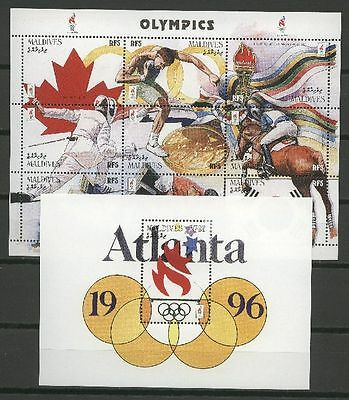 Olympiade 1996, Olympic Games - Malediven - 1 KB, 1 Bl.  ** MNH