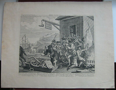 Radierung von William Hogarth: The Invasion 1756/Etching France Frankreich