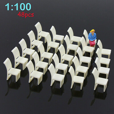 ZY10100 48pcs Model Train Railway Leisure Chair Settee Bench  Layout 1:100