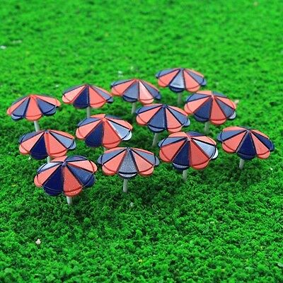 TYS41100B 12pcs Model Train Sun Umbrella Parasol 1:100 TT Scale Garden Sea Beach