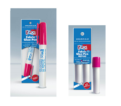 Stix 2 Fabric Glue Pen & Refills Refillable Dries Clear Water Soluble Applique