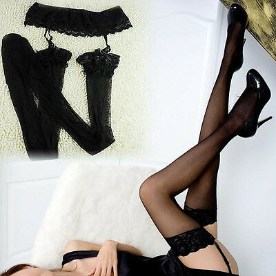 Comfortable Women Suspender Lace Top Thigh High Socks Stockings Garter Belt Hot