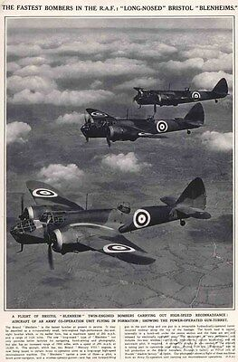 1939 Vintage Print The RAF Fastest Bombers Long-nosed Bristol Blenheims Airplane