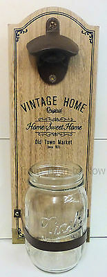 Vintage Home Wooden Bottle Opener Stand Wall Mounted Cap Catcher Jar Chic Shabby