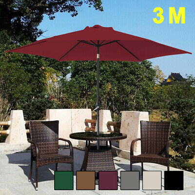 3M Large Round Garden Parasol Patio Sun Shade Umbrella Aluminium Crank Tilt New