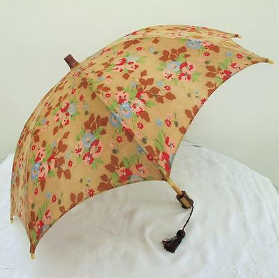 VINTAGE 1930's ART DECO FLORAL FLOWER PRINTED FABRIC & CELLULOID BEACH PARASOL