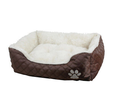 Richmond Fur Dog Cat Pet Bed Removable Pad Dark Brown 3 Sizes Available S M L