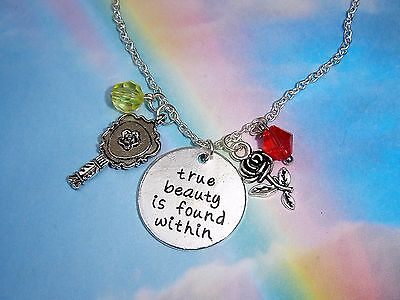 Beauty And The Beast Necklace True Beauty Is Found Within Rose Charms