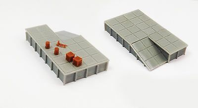 Outland Models Train Railway Platform  Loading Dock (wide) x2 w Goods Z Scale