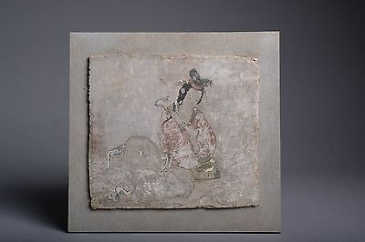 Ancient Chinese Tang Dynasty Stucco Fresco Panel - 700 AD