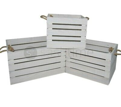 Rustic Vintage Crate Shabby Chic Wooden Rope Slatted Apple Display Box Farm Shop